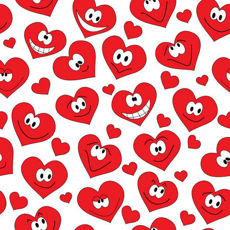 laughter: seamless background of smiling hearts