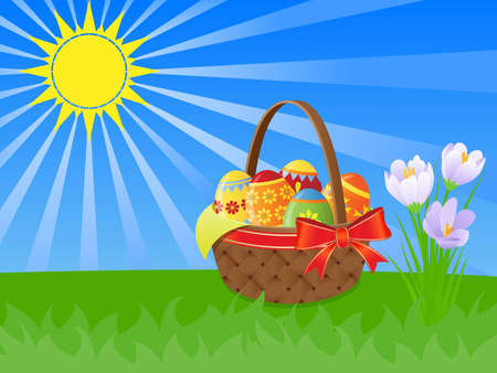 easter basket and  spring flowers illustration with the shining sun illustration