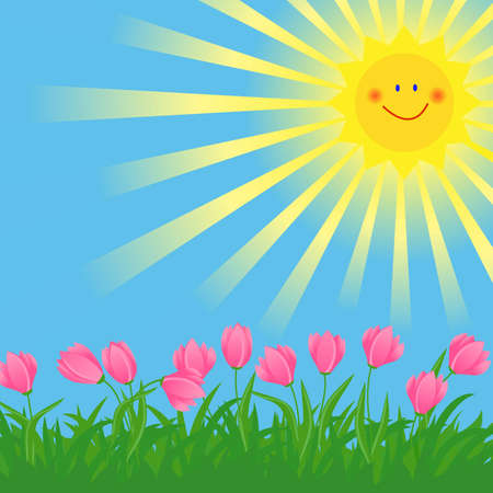 spring flowers and grass illustration with the shining sun illustration