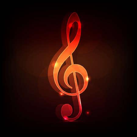 treble g clef: 3d neon treble clef on a dark background Stock Photo