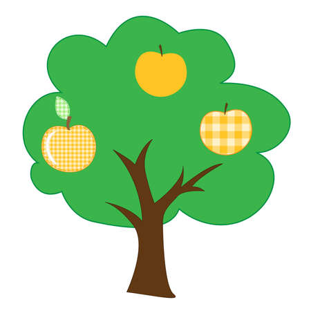 sewing  apple-tree of checkered fabric Stock Photo