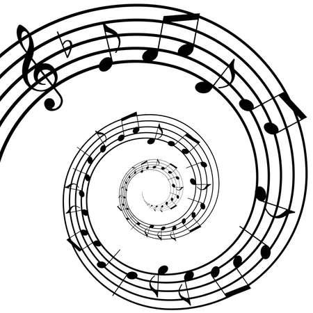 pentagrama musical: música de fondo en espiral Vectores