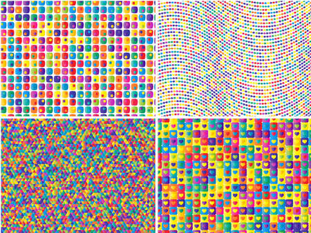 abstract  colorful retro  pattern set Vector