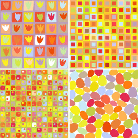 abstract  colorful retro  pattern set Stock Vector - 11276935