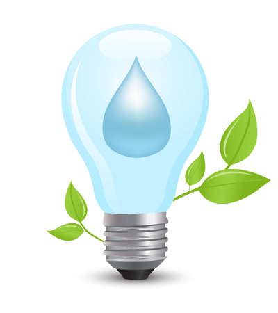 electric light bulb symbolizing energy of water Vector