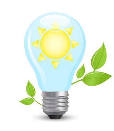 electric light bulb symbolizing solar energy Stock Vector - 11276928