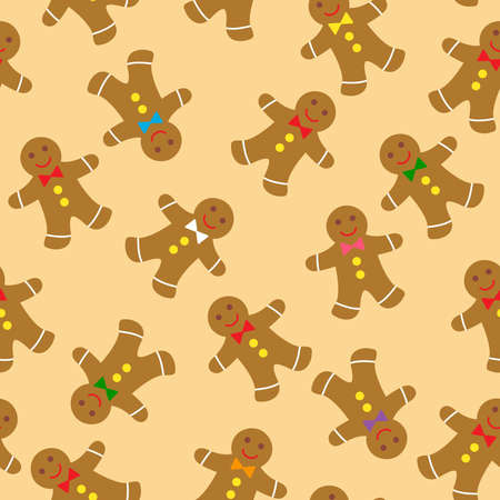 gingerbread cookies seamless pattern Stock Vector - 11276929