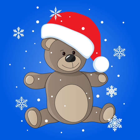 teddy in christmas cap Stock Vector - 11276931