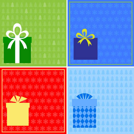 christmas cards with gift boxes Illustration