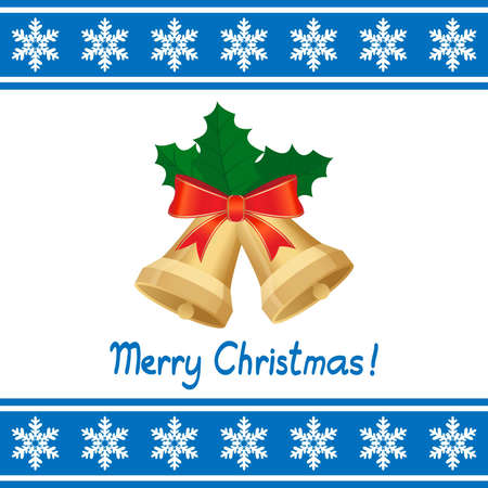 christmas card with bells Vector
