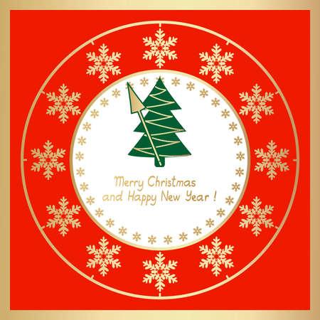 christmas clock with christmas tree Stock Vector - 11276957
