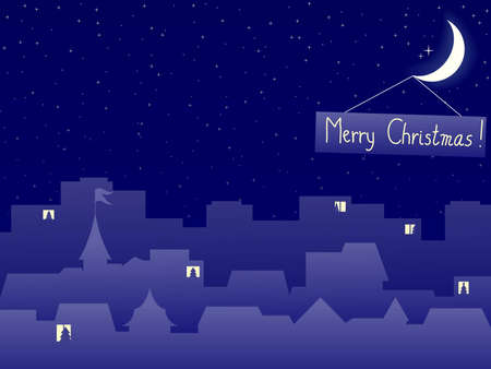 night scenery of building city with moon in christmas eve Vector