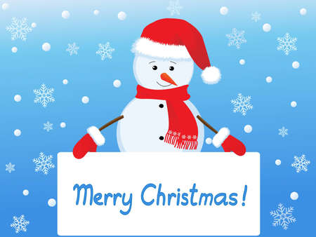 snowman  with banner Stock Vector - 11276942