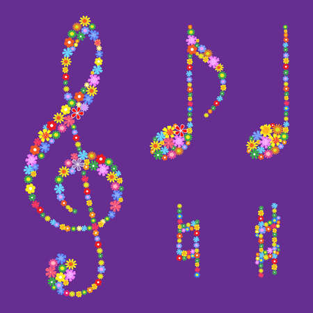 treble clef,note,sharp and clef  of flowers Vector