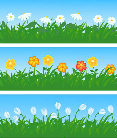 spring flowers and grass illustration  Stock Vector - 11276954