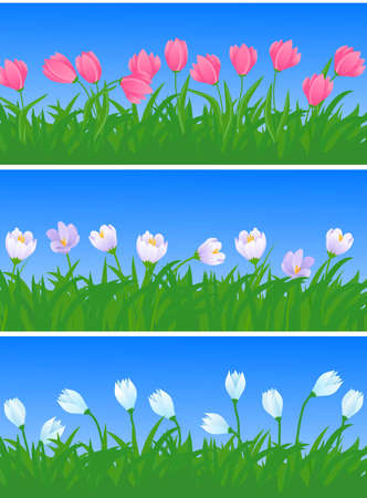 vernal:  spring flowers and grass illustration  Illustration