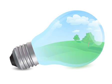 rolling landscape: bulb with eco concept