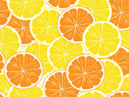 seamless background of orange and lemon  slices.vector illustration Vector
