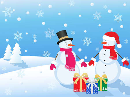 snowmans  in winter landscape with gifts Vector
