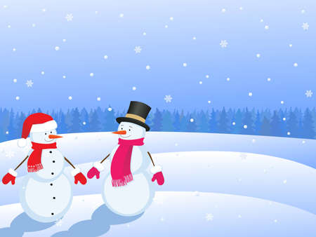 snowmans  in winter landscape