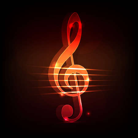 key signature: 3d neon treble clef on a dark background Illustration