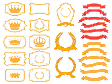 banner,laurel  wreath and crown set  Vector