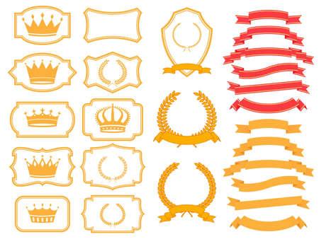 banner,laurel  wreath and crown set  Vector