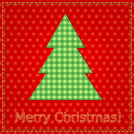 christmas card with sewing christmas tree Vector