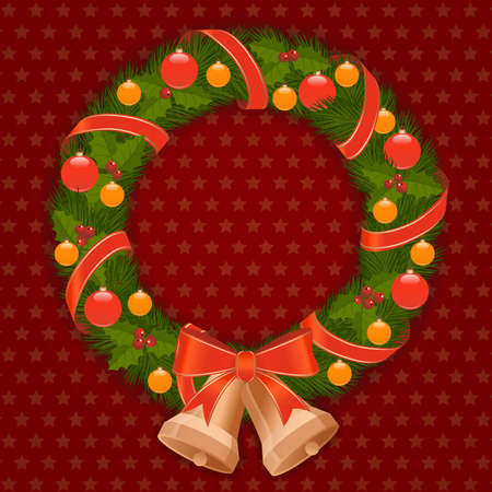 christmas wreath with red bow and bells Stock Vector - 14851481