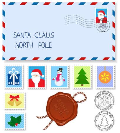 feliz: elementi di decorazione francobolli e marchi di spedizione per lettera a Babbo Natale