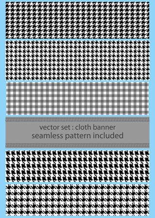 bandera set de tela con patrones de costura diferentes houndstooth