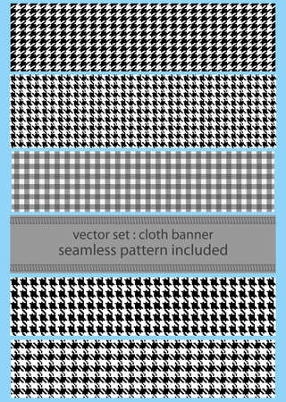 banner set of fabric with seamless different  houndstooth patterns
