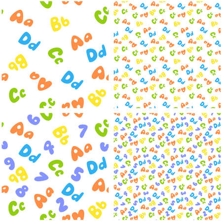 colorful seamless pattern of letters and numbers