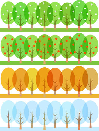 four leafed:  stylized trees