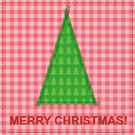 christmas card with sewing christmas tree Stock Vector - 14851474