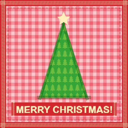 christmas card with sewing christmas tree Stock Vector - 14851476
