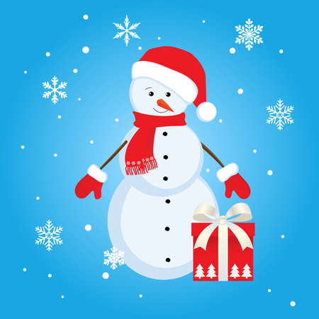 snowman  with gift Stock Vector - 14851460
