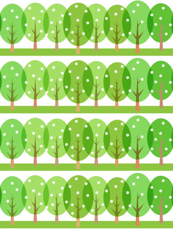 seamless spring pattern of stylized trees