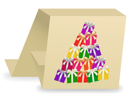 card with abstract Christmas tree of gifts boxes Illustration
