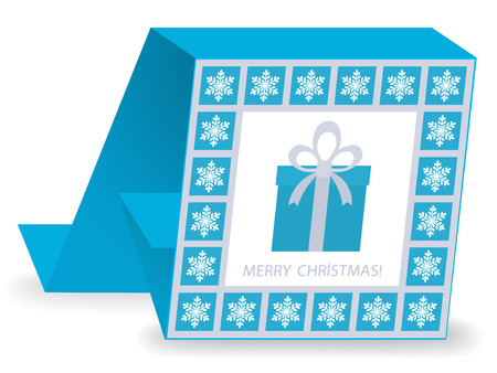 s eve: christmas card with gift box