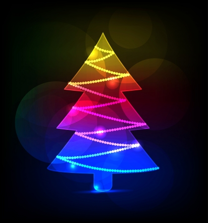 neon christmas tree on black background