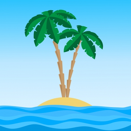 island with palms vector illustration
