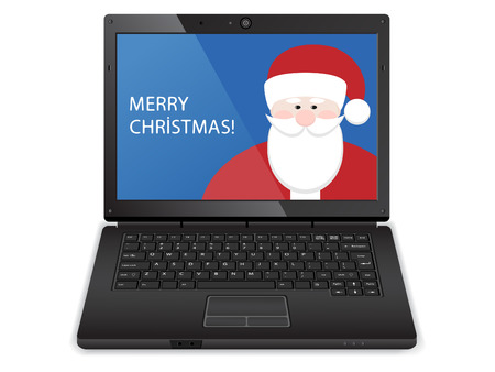 black laptop with christmas illustration Illustration