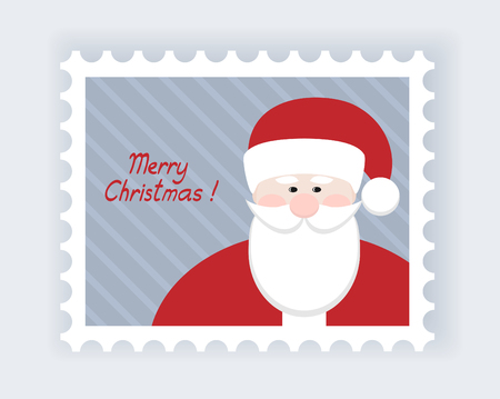 christmas post stamp with santa claus Vector