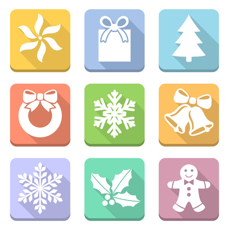 christmas flat icons vector illustration Vector