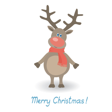 christmas illustration  with funny deer Vector