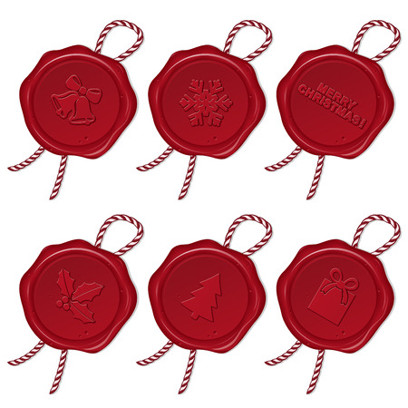 wax seal with christmas symbols Illustration