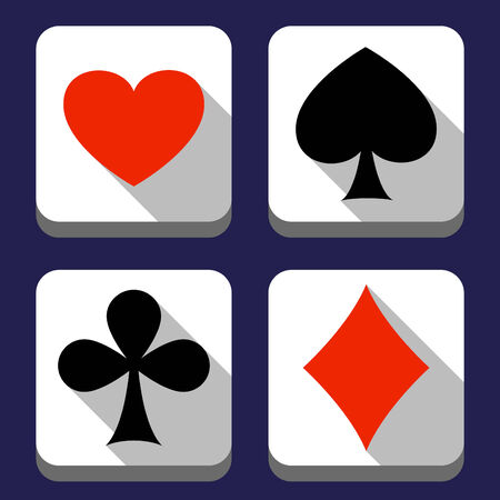 flat heart,clubs,spades and diamond Vector