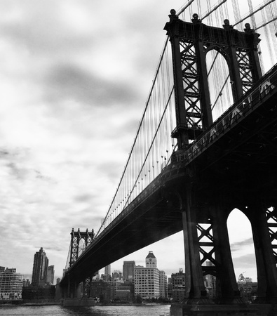 black and white: Manhattan bridge over the water in New York, USA