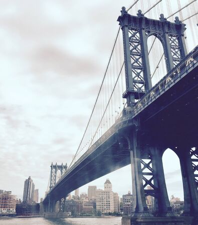 manhattan bridge: Manhattan bridge, river and the city in vintage style